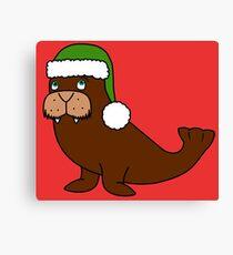 Christmas Walrus with Green Santa Hat Canvas Print