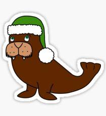 Christmas Walrus with Green Santa Hat Sticker