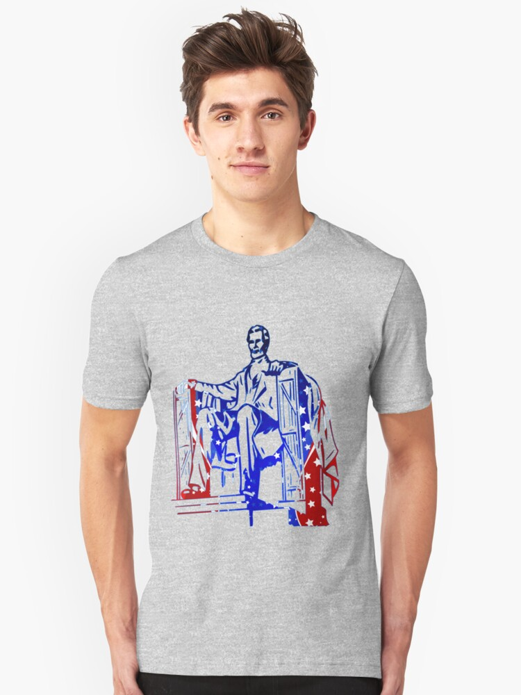 President Lincoln Statue In USA Flag Colors Unisex T-Shirt Front