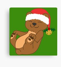 Christmas Brown Bear with Red Santa Hat, Holly & Gold Bell Canvas Print