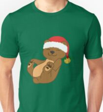 Christmas Brown Bear with Red Santa Hat, Holly & Gold Bell Unisex T-Shirt