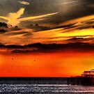 sunset over the sea by Janis Read-Walters