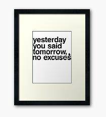 Yesterday - Helvetica Black Framed Print
