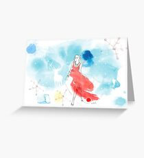 CHRISTMAS GIRL IN THE SNOW Greeting Card
