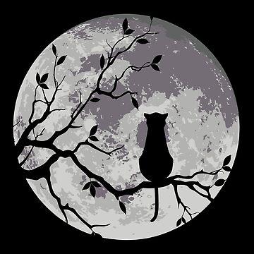 «Le chat et la lune» par mayumiku