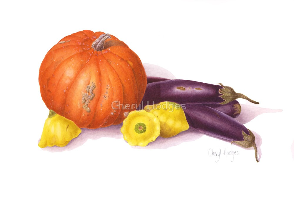 Pumpkin, eggplant, squash still life by Cheryl Hodges