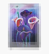 Birthday Wishes Greeting Card with Lilac Calla Lilies Photographic Print