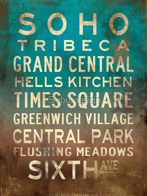 soho subway sign art vintage blue green ochre canvas. Black Bedroom Furniture Sets. Home Design Ideas