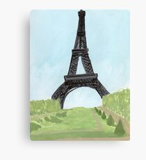 Eiffel Tower, Watercolor and India Ink Canvas Print