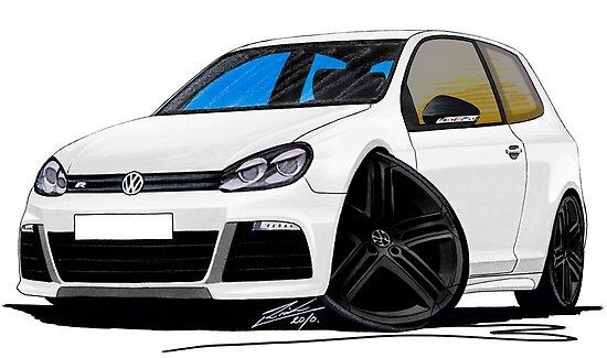 VW Golf R White (Black Wheels) by yeomanscarart
