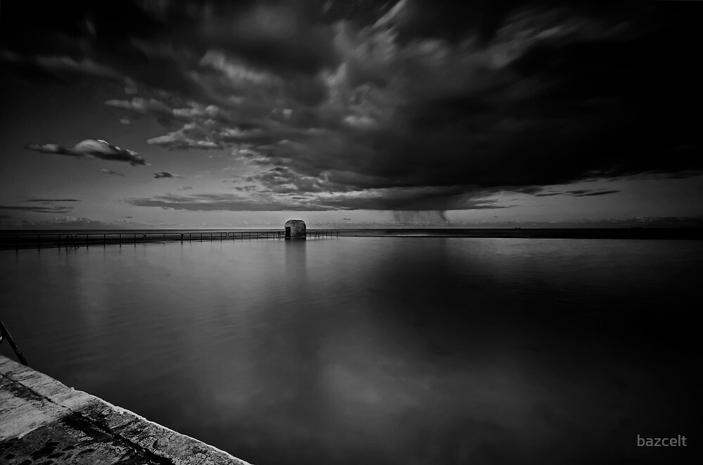 Incoming Storm, Merewether Ocean Baths, mono by bazcelt