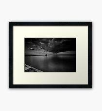 Incoming Storm, Merewether Ocean Baths, mono Framed Print