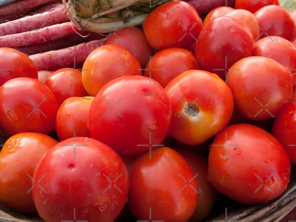Pile of red luscious tomatoes along with carrots on a vegetable basket by ashishagarwal74