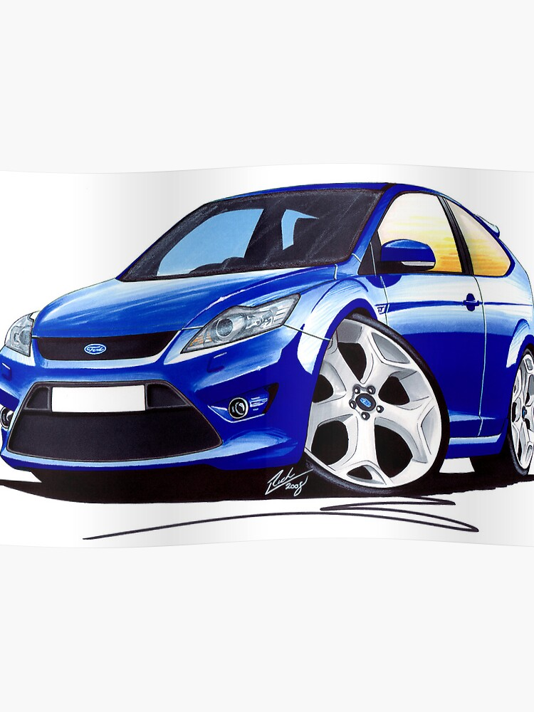 Ford Focus St Facelift Blue Poster