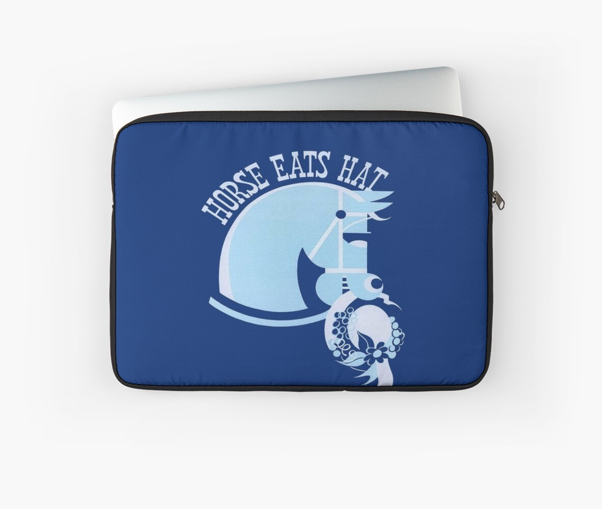 Horse Eats Hat (Blue) Vintage Poster by taiche
