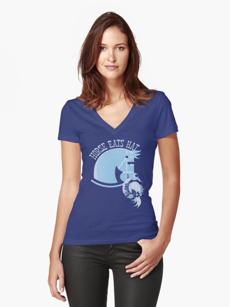 Horse Eats Hat (Blue) Vintage Poster Women's Fitted V-Neck T-Shirt Front