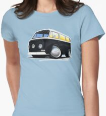 VW Bay Window Camper Van Black Womens Fitted T-Shirt