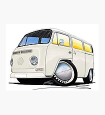 VW Bay Window Camper Van White Photographic Print