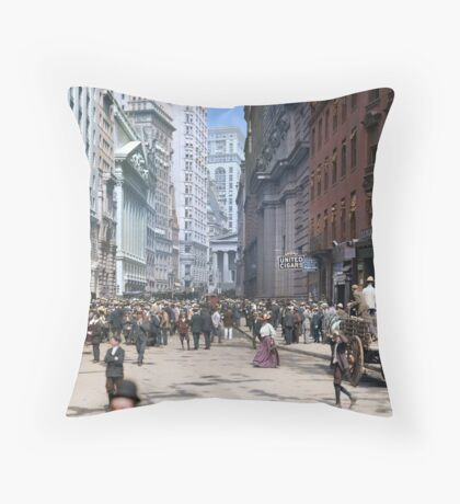 Curb Market in NYC, ca 1900 Throw Pillow