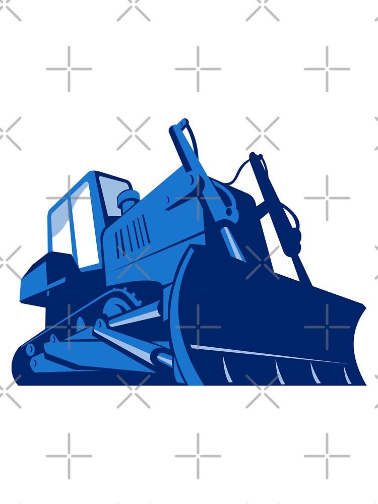 bulldozer front retro by retrovectors