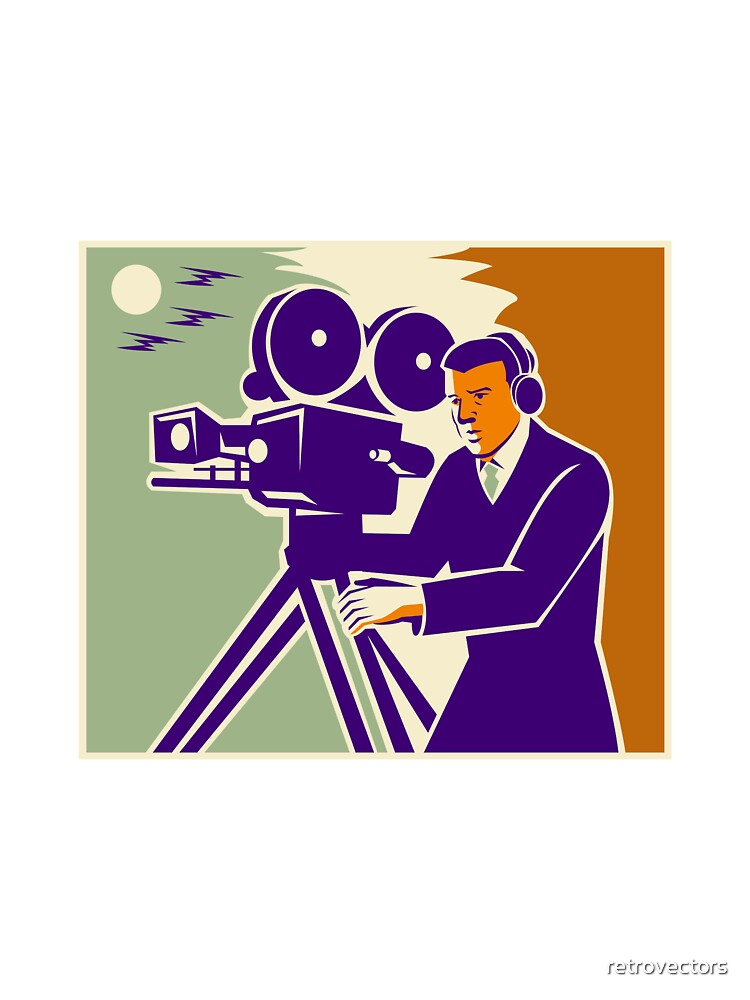 Cameraman Film Crew Vintage Video Movie Camera by retrovectors