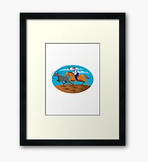 Cowboy Riding Horse Lasso Bull Cow Framed Print