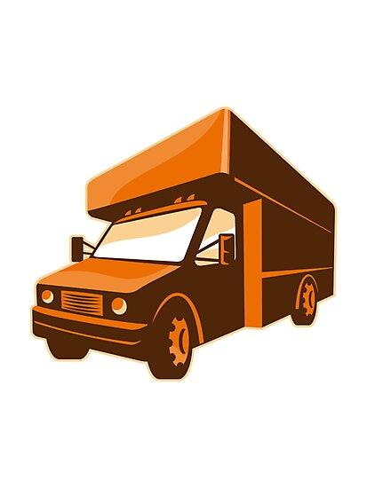 moving truck delivery van retro by retrovectors