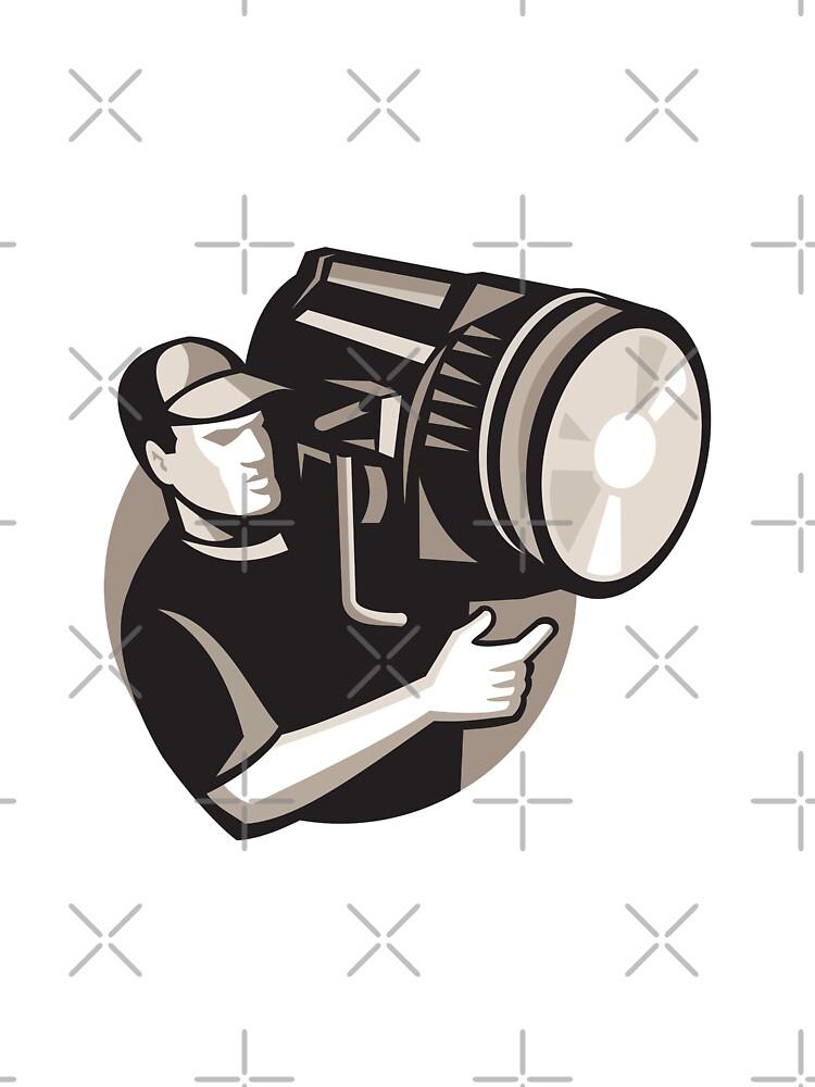 film crew with spotlight fresnel light by retrovectors