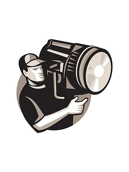 film crew with spotlight fresnel light by retrovectors