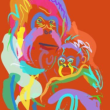 Orang utan mom and baby by GovanKampen