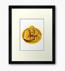 mason brick layer construction worker Framed Print