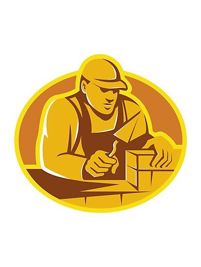 mason brick layer construction worker by retrovectors