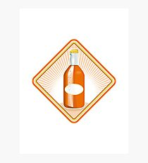 orange soda bottle sunburst retro Photographic Print
