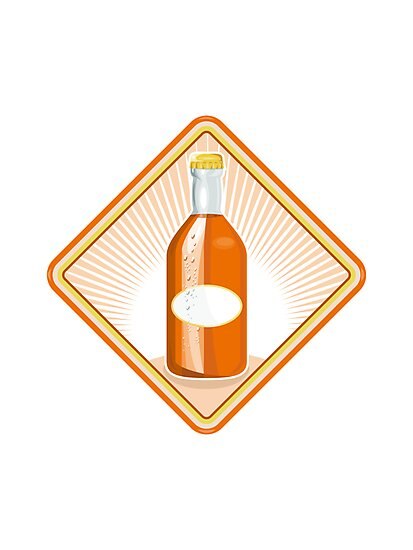 orange soda bottle sunburst retro by retrovectors