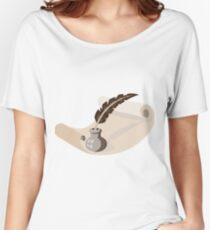 quill pen ink well paper scroll retro Women's Relaxed Fit T-Shirt
