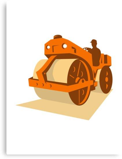 construction road roller retro by retrovectors