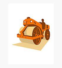 construction road roller retro Photographic Print