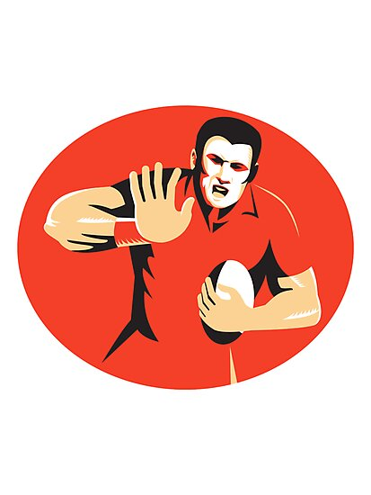 rugby player fending ball retro by retrovectors