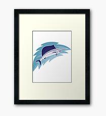 sailfish jumping retro style Framed Print