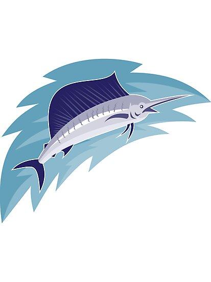 sailfish jumping retro style by retrovectors