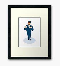 businessman secret agent arms crossed Framed Print