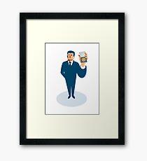 businessman secret agent showing id card badge wallet Framed Print