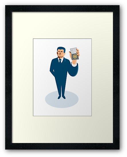 businessman secret agent showing id card badge wallet by retrovectors