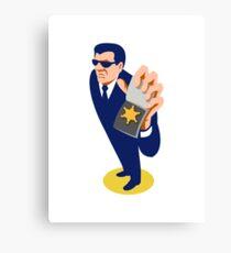 secret agent showing id badge retro Canvas Print