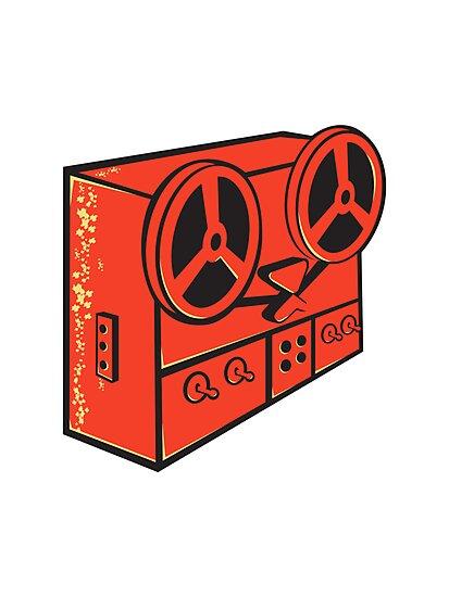tape recorder reel cassette deck retro by retrovectors