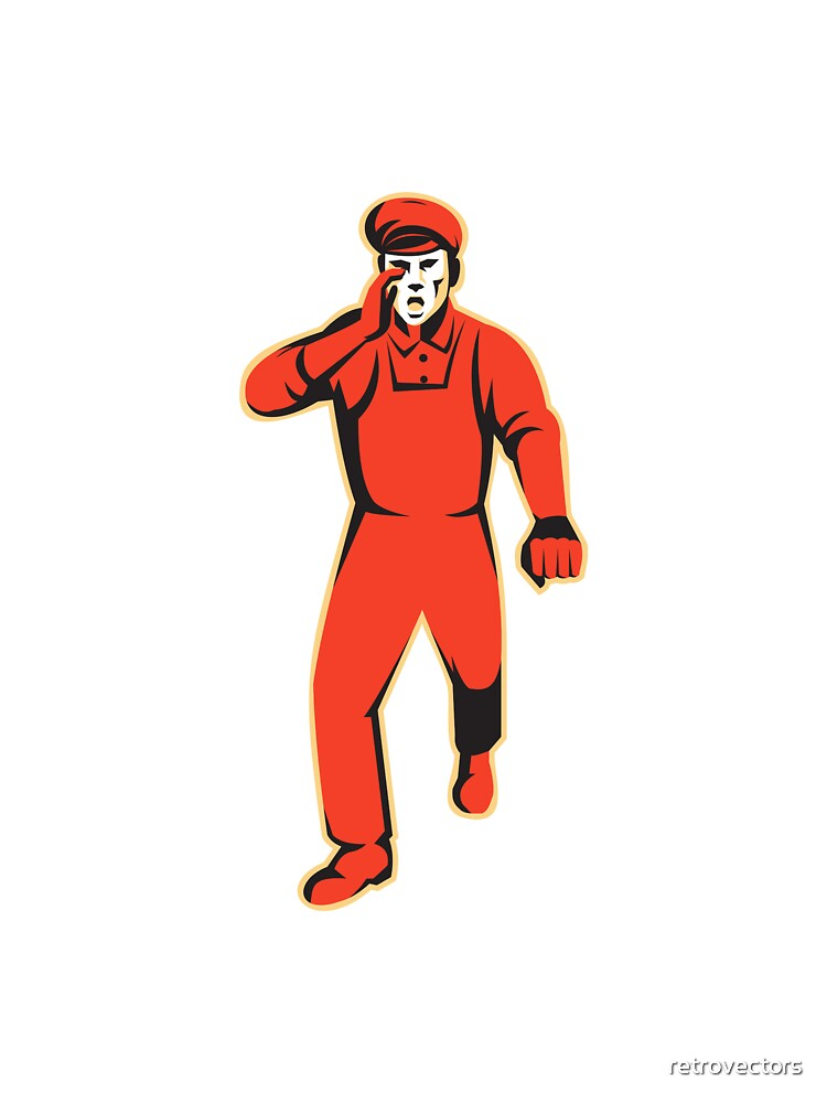 worker marching shouting retro by retrovectors