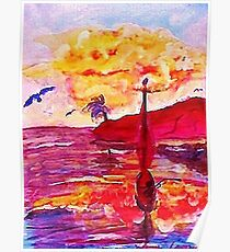 Big cloud at sunset,  revised , watercolor Poster