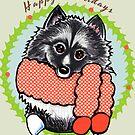 Keeshond Happy Howlidays Christmas Card by offleashart