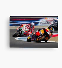 Dani Pedrosa and Nicky Hayden at laguna seca 2012 Canvas Print