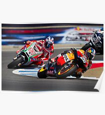 Dani Pedrosa and Nicky Hayden at laguna seca 2012 Poster